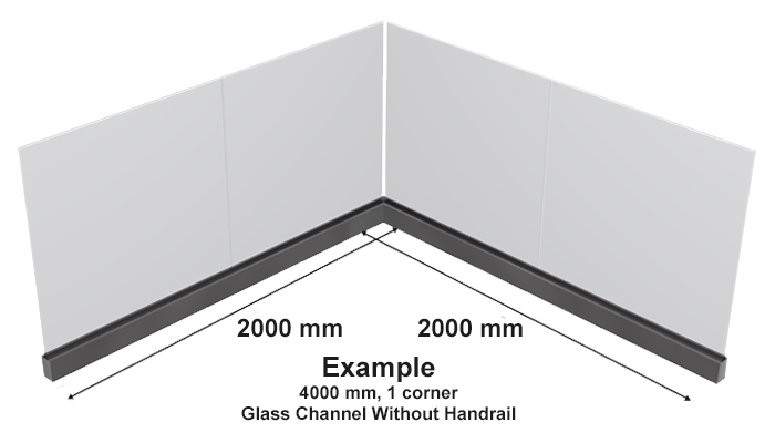 Example of glass channel without handrail two lengths of channel at 200mm in length with one corner overall lenght of system is 400mm